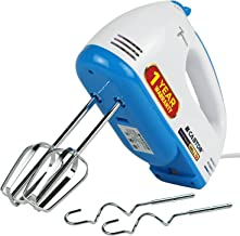 iBELL Castor HM300L Hand Mixer Beater Blender Electric Cream Maker for Cakes with Base 7 Speed Control and 2 Stainless Steel Beaters, 2 Dough Hooks (White)