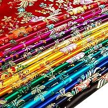Tong Gu Satin Faux Silk Fabric Chinese Begonia Flower Damask Brocade Bag Costume Tablecloth Vintage (Sold by Meter, Orange Yellow)