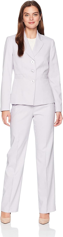 LeSuit Womens Melange Herringbone 3 Bttn Notch Lapel Pant Suit Business Suit Pants Set
