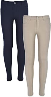 2-Pack Cute Hyperstretch Twill Pants for Girls for School Uniform