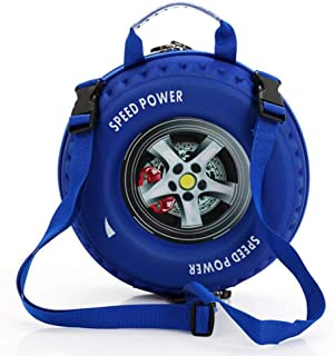 Kids Creative Car Tire Shoulders Backpack Blue