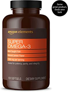 Amazon Elements Super Omega-3 with Natural Lemon Flavor - Heart, Brain, Eye Health - 120 Softgels (1280 mg per serving, 2 Softgels) (Packaging may vary)