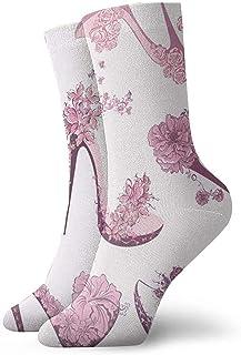 N / A, High Heels - Calcetines para hombre, mujer, niños, trekking, rendimiento, 30 cm, diseño de flores y mariposas