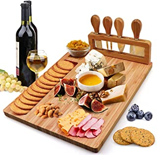 Bamboo Cheese Board Set, Charcuterie Platter and Serving Meat Board Including 4 Stainless Steel Knife and Serving Utensils...