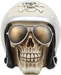 Ebros Aviation Airman Fighter Pilot Helmet Skull With Aviator Sunglasses Shades Statue Ossuary Skeleton Macabre Halloween Graveyard Spooky Skulls Figurine