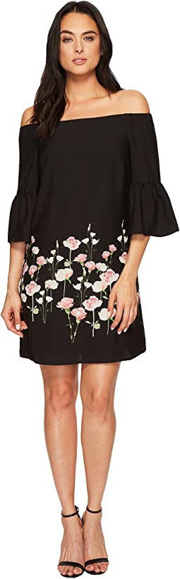 Evelyn - Off the Shoulder Floral Border Dress