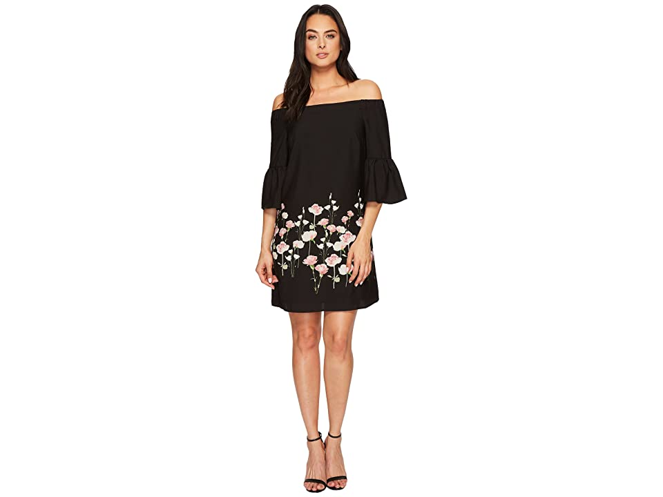 CeCe Evelyn Off the Shoulder Floral Border Dress (Rich Black) Women