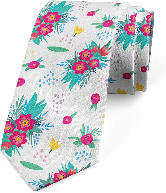 Ambesonne Necktie, Posy of Colorful Flowers, Dress Tie, 3.7