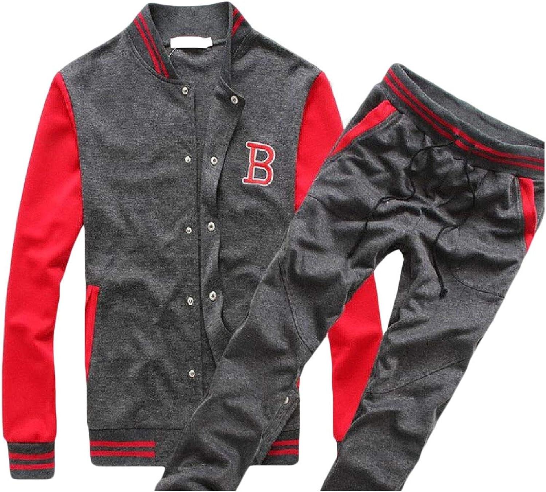 Comaba Men Sweatshirt Long Pant Button Down Two Piece Tracksuit Sets