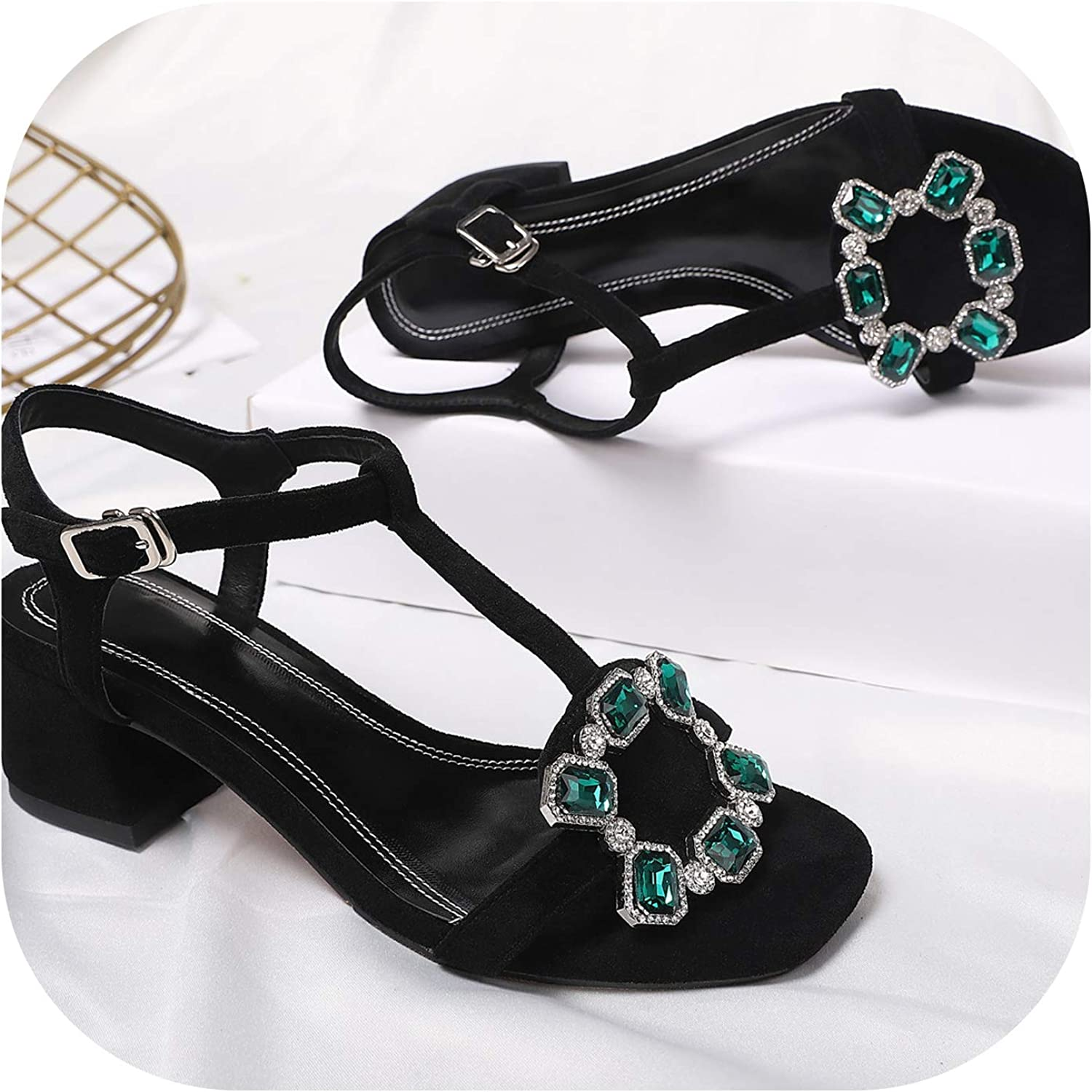New Recommended Summer Sheepskin Rare Suede Leather Solid Color Rhi Sandals Women