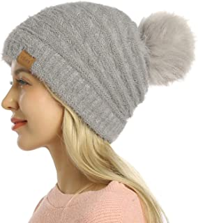 Womens Winter Hat Slouchy Warm Beanie Hats Faux Fur Pompom Chunky Baggy Ski Cap with Fleece Lined for Women