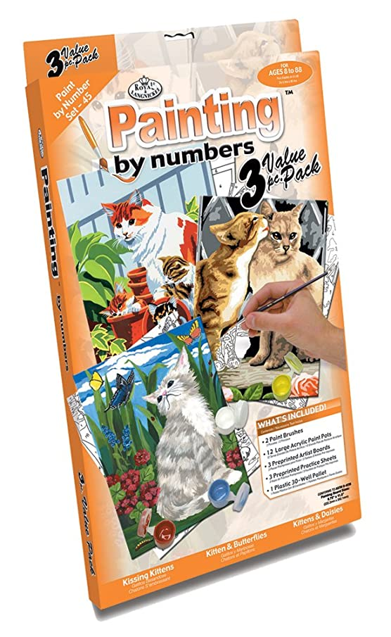 Royal & Langnickel Painting by Numbers Junior Small 3-Piece Art Activity Kit, Cats Set