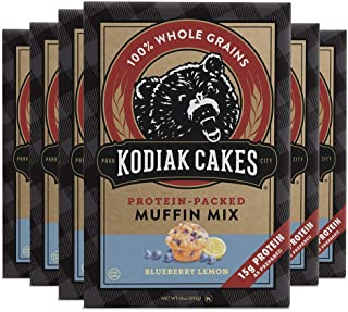 Kodiak Cakes Power Bake, Protein Muffin Mix, Blueberry Lemon, 14 Ounce (Pack of 6)