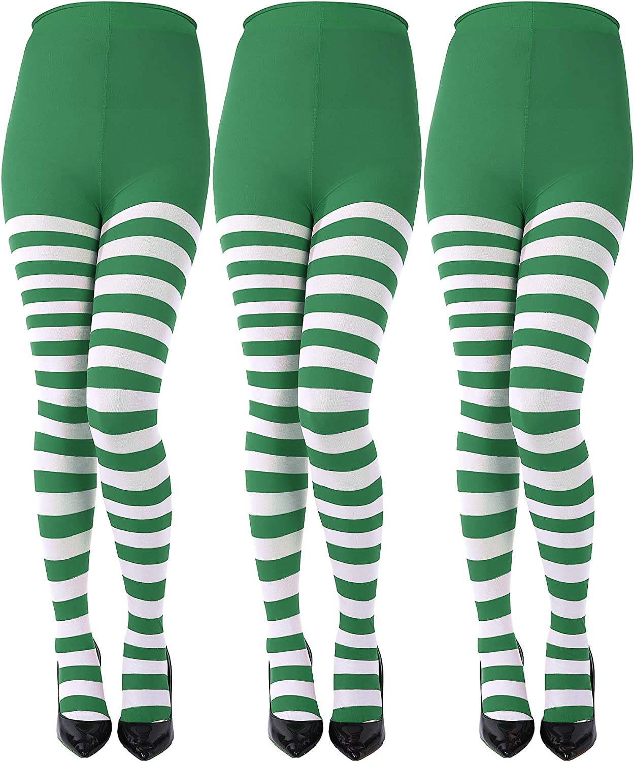 Sumind 3 Pairs Year-end annual account Christmas Striped Full Long Beach Mall Tights Thigh Length