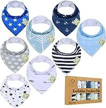 Baby Bandana Drool Bibs for Boys by KeaBabies - Super Absorbent Bandana Bibs - Baby Drool Bib - Teething Bibs - Handkerchief Bibs for Infant, Toddler - 8-Pack Bib Set - Bib Boy