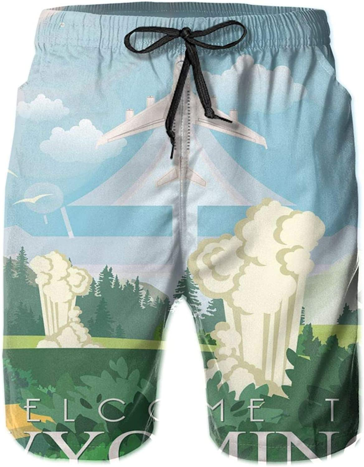 MUJAQ Sweet Digital Cartoonish Illustration of Traveling Equality State Themed Welcome Mens Swim Trucks Shorts with Mesh Lining,M