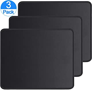 TMANGO 3 Pack Mouse Pads with Stitched Edge, Washable Mouse Mat and Non-Slip Rubber Base for Laptop, Computer or PC Mouse, Office or Home, 10.1×8.2×0.09 inches Black (3 Pack)