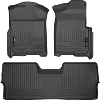 Husky Liners Fits 2009-14 Ford F-150 SuperCrew without Manual Transfer Case Shifter Weatherbeater Front & 2nd Seat Floor Mats (Footwell Coverage)
