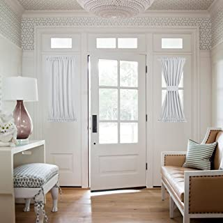 NICETOWN Greyish White Sidelight Door Panel - Room Darkening Side Lights Curtain and Drapery Thermal Insulated and Privacy Assured (1 Panel, 40 inches Long, Platinum)