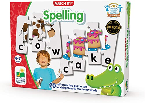 The Learning Journey: Match It! - Spelling - 20 Piece Self-Correcting Spelling Puzzle for Three and Four Letter Words...