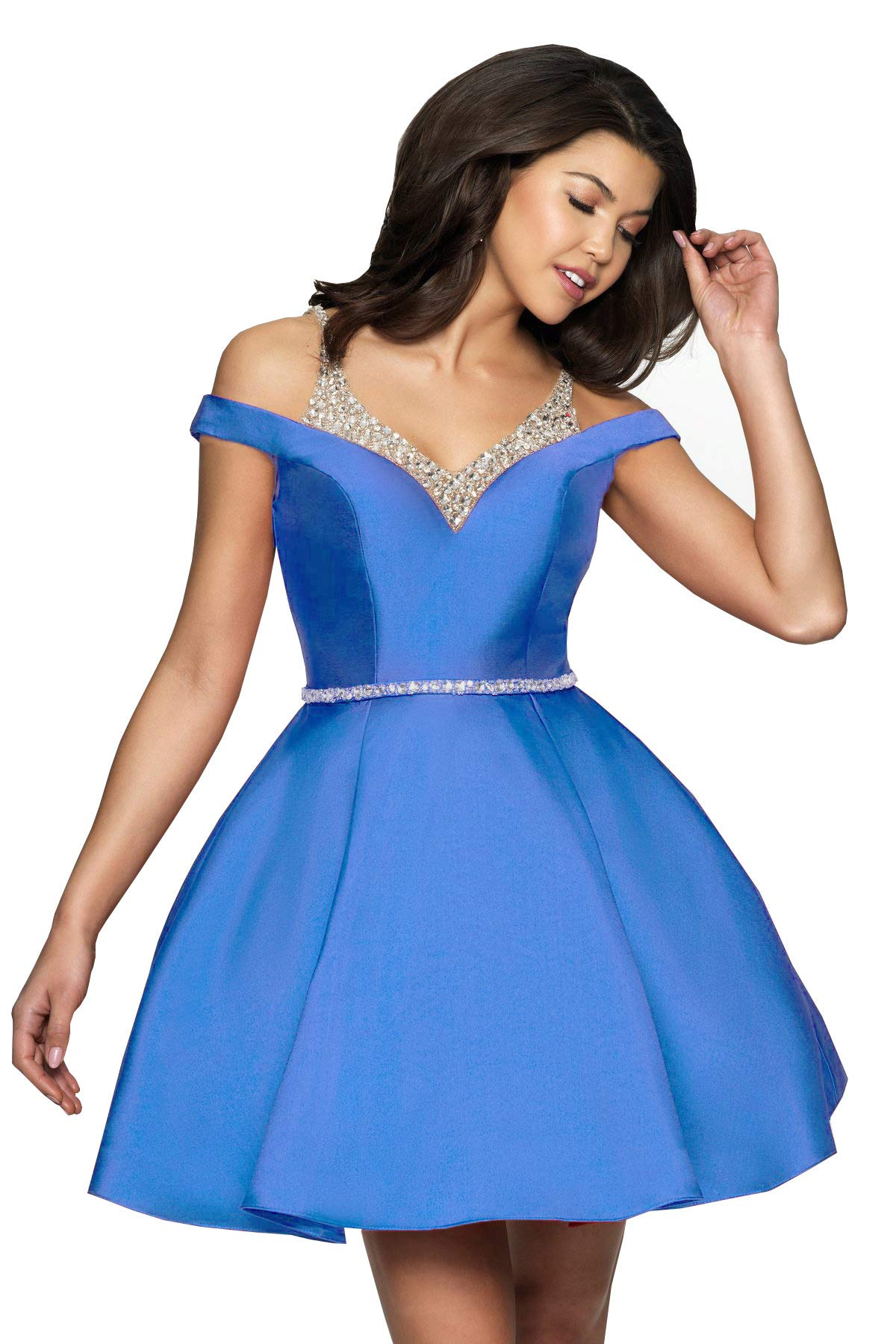Available at Amazon: YGSY Women's Off The Shoulder A Line Beaded Homecoming Dress Short Formal Evening Gown