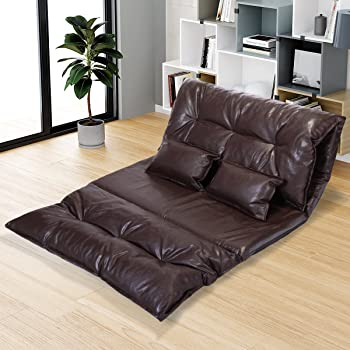 Amazon.com: JAXPETY Adjustable Folding Leisure Sofa Bed, Floor Chaise Lounge Sofa Chair With 2 Pillows And 5 Reclining Position, Video Gaming Sofa For Bedroom Living Room (PU Leather, Brown): Kitchen & Dining