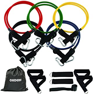 ohderii Resistance Band Set, with Door Anchor, 4 Foam Handles, Ankle Straps - Stackable Up to 100lbs - for Resistance Trai...