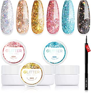 Modelones Set 6 Color Glitter Gel Nail Polish + Painting Pen,Soak Off UV LED Super Platinum Nail Gel Varnish Manicure Nail Art Kit 5ml