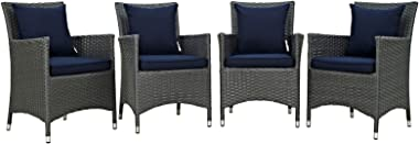 Modern Contemporary Urban Design Outdoor Patio Balcony Four PCS Dining Chairs Set, Navy Blue, Rattan