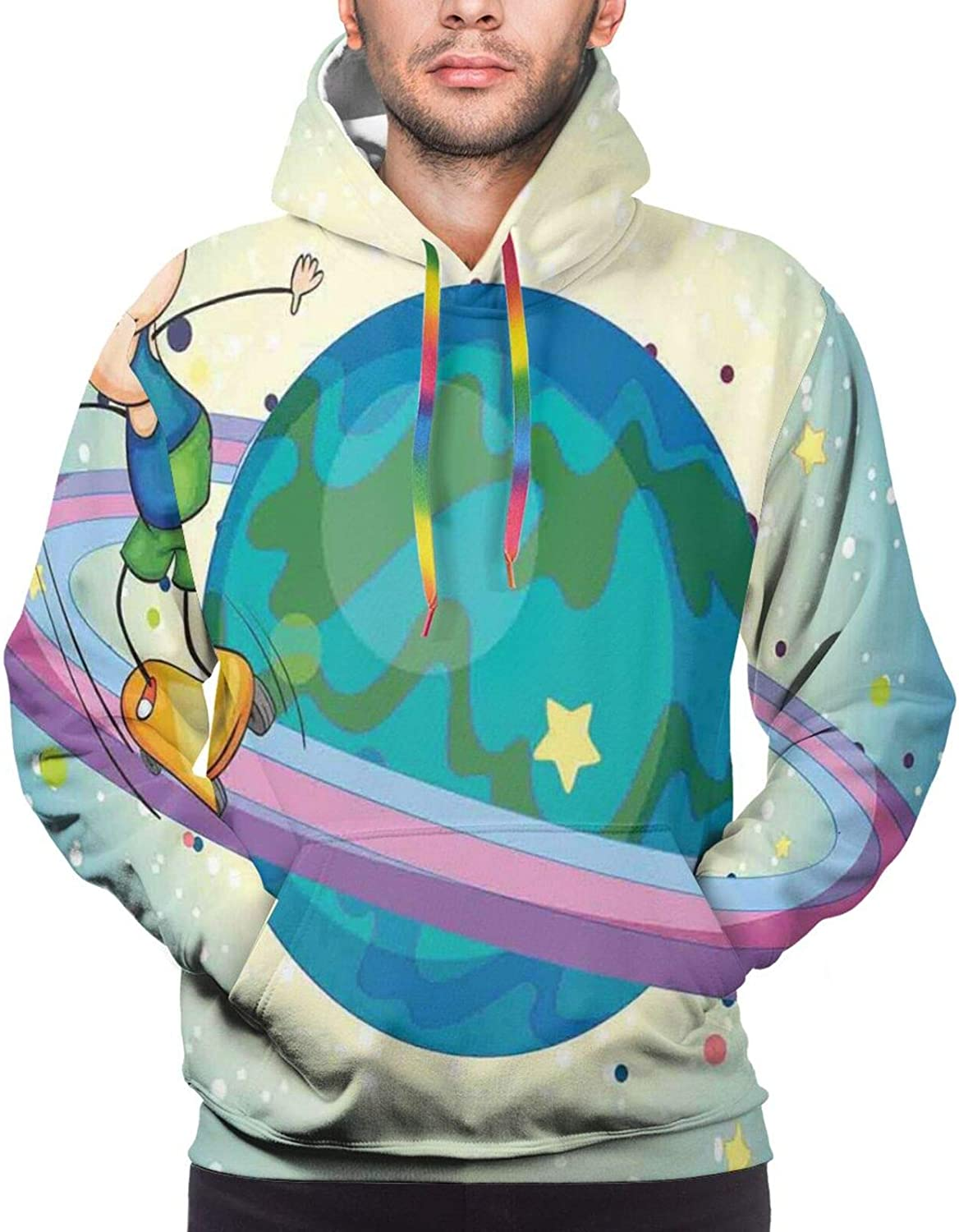 TENJONE Men's Hoodies Sweatshirts,Fantastic Winterland Illustration with Low Poly Style River Mountains and Forest