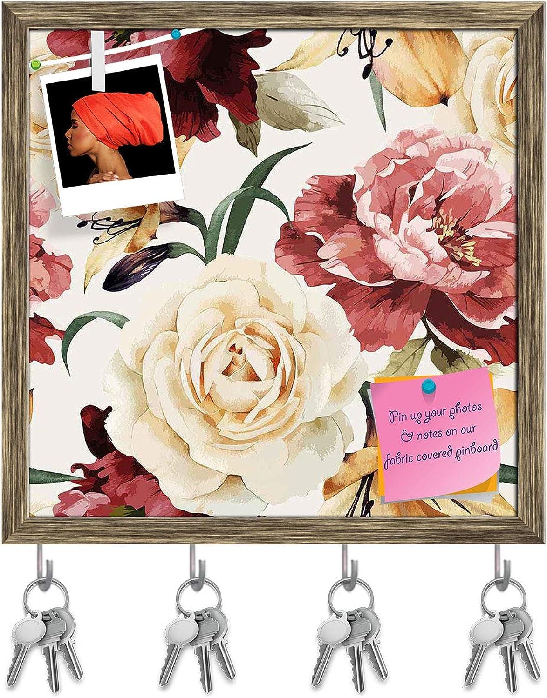 Artzfolio pinks D2 Key Holder Hooks   Notice Pin Board   Antique golden Frame 20 X 20Inch
