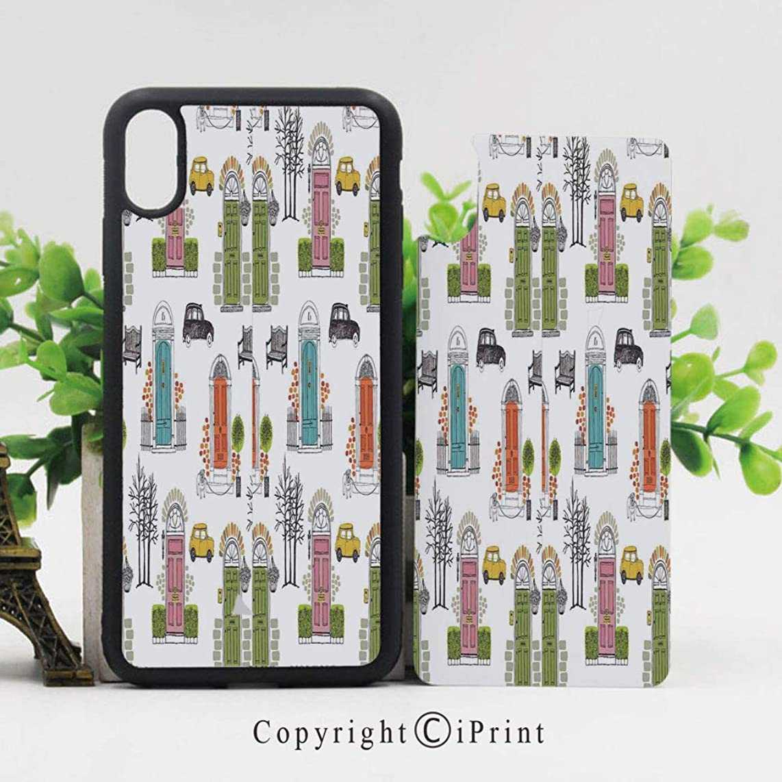 iPhone X Case,Vintage House Doors Art Pattern City Collage Entrance Dog Car Gate Home Bench iPhone X Shockproof Protective Case TPU Bumper Compatible Apple iPhone X 5.8