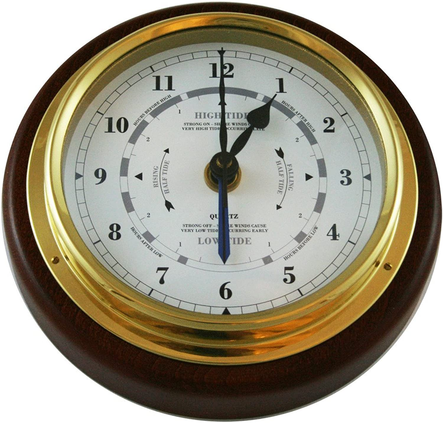 Ambient Weather 1434GU22 Fischer Mahogany Wood and Brass Tide and Time Clock, 15cm  1.3cm