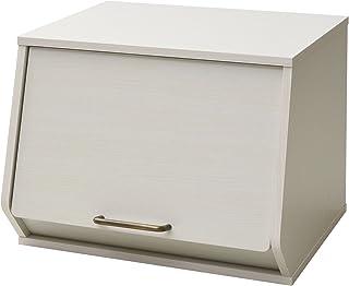 山善 収納ボックス 木製 おうちすっきりボックス オープンボックス 取っ手付き ホワイトウォッシュ ECSB-3140D(JW)