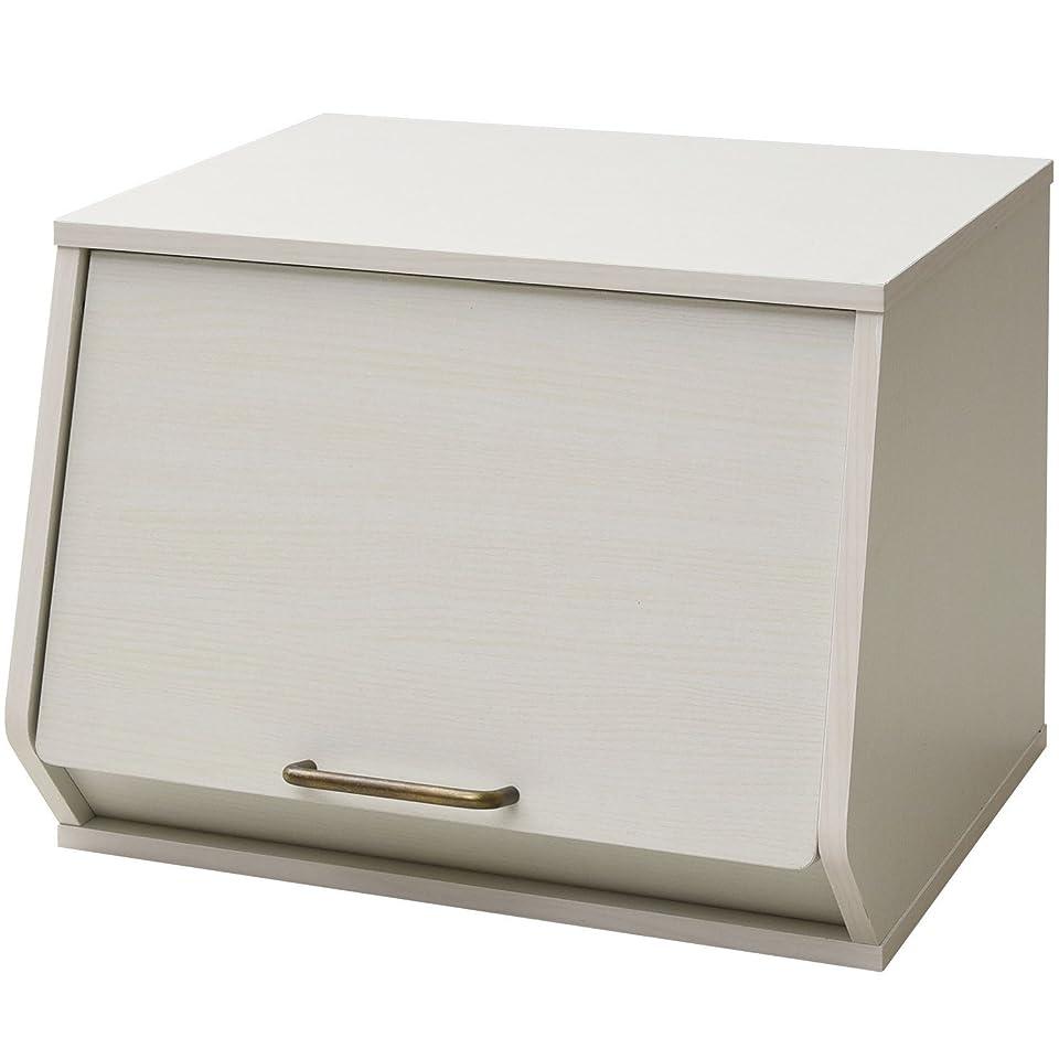 限り立ち向かうカレンダー山善(YAMAZEN) 収納ボックス 木製 おうちすっきりボックス オープンボックス 取っ手付き ホワイトウォッシュ ECSB-3140D(JW)