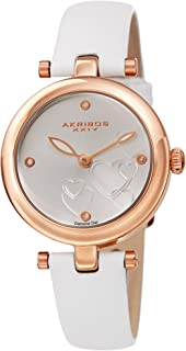 Akribos XXIV Women's Diamond Accented Heart Engraved Dial Rose Gold & White Leather Strap Watch - Packed in a Beautiful Gift Box - AK1044WTR
