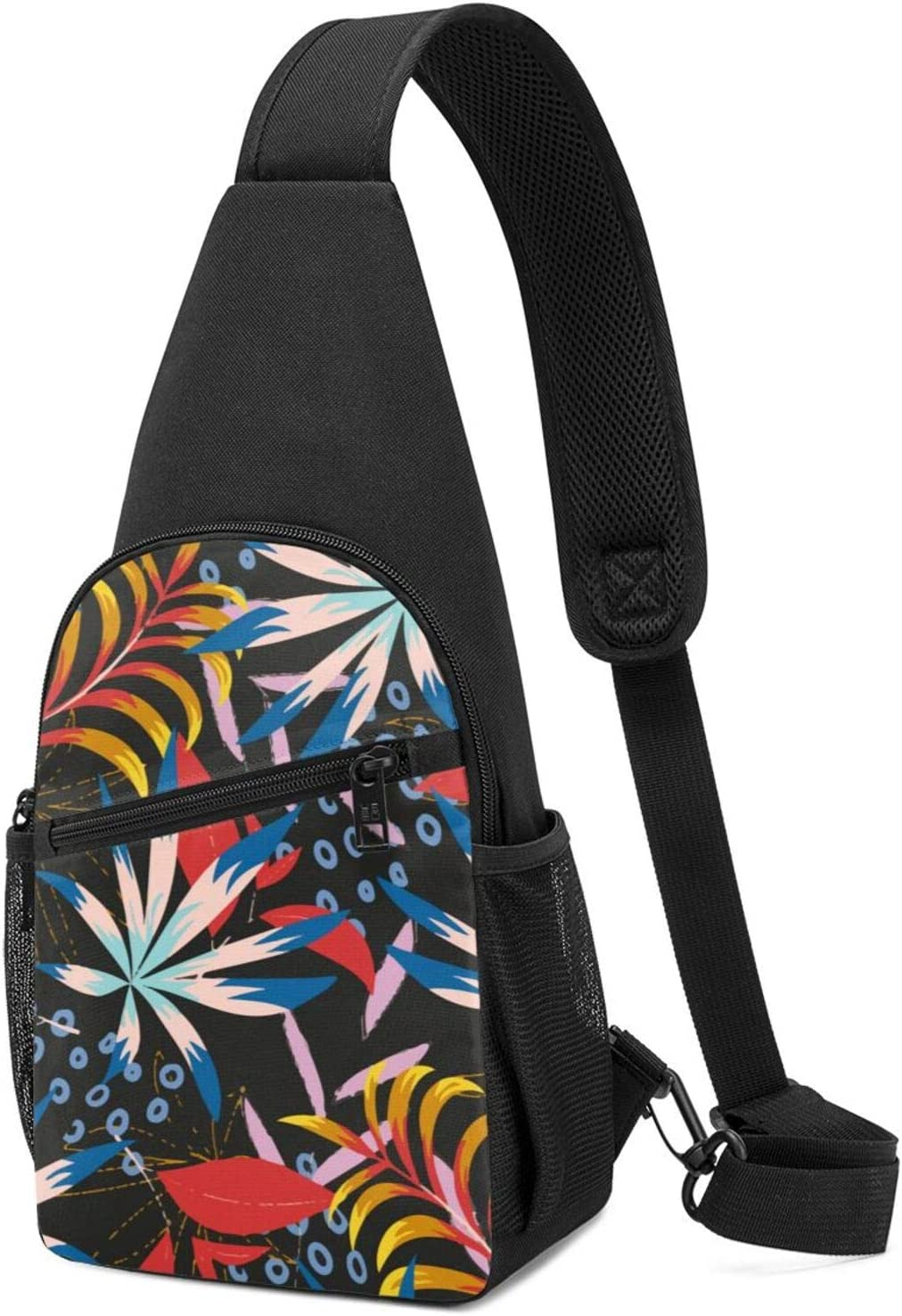 BMAZI San Antonio Mall Chest Shoulder Backpack Bright Plants D Max 66% OFF Lightweight Leaves