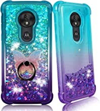 Moto G7 Power Clear Case, ZASE [Liquid Glitter Sparkle Bling] for Moto G7 Power, Moto G7 Supra Protective Cover 3D Waterfall Floating Quicksand [Shockproof Bumper] w/Phone Ring (Gradient Aqua Purple)
