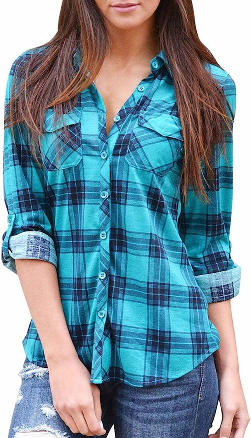 Grace Elbe Women's Flannel Collared Long Sleeve Plaid Shirt