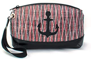 Recycled Sail Wristlet Purse Nautical Sailcloth Bag Anchor Clutch
