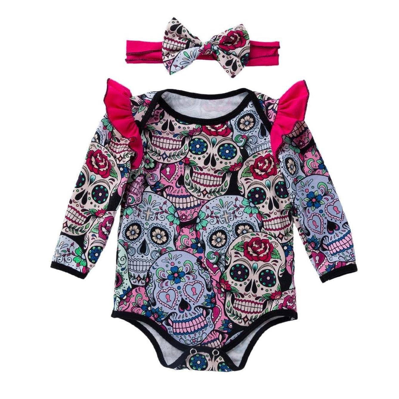 GoodLock Baby Girls Fashion Clothes Set Newborn Long Sleeve Halloween Cartoon Skull Romper Jumpsuit Headbands Outfits 2Pcs