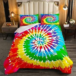 Tie Dye Comforter Set Rainbow Spiral Tie Dye Decor Quilted Duvet for Adult Women Girls Chic Boho Hippie Style Down Comfort...