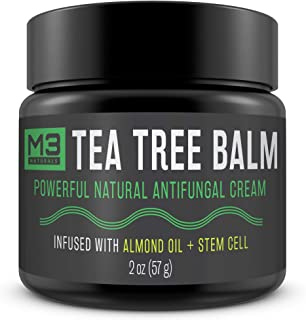 M3 Naturals Tea Tree Balm Infused with Stem Cell and Almond Oil Powerful All Natural Antifungal Cream for Athletes Foot Jock Itch Fungus Body Acne Burning Stinging Skin Irritation 2 oz