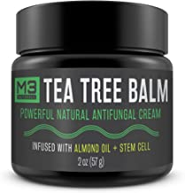 M3 Naturals Tea Tree Balm Infused with Almond Oil and Stem Cell Powerful All Natural Antifungal Cream Athletes Foot Jock Itch Nail Fungus Skin Care Irritation Anti Fungal 2 OZ
