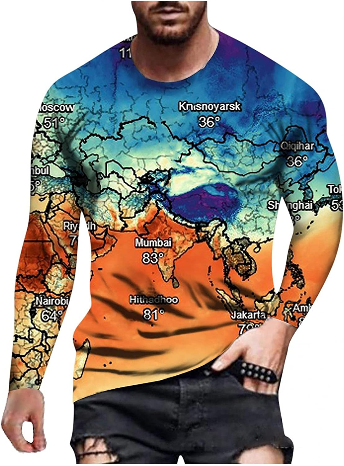 Mens Shirts Men's Autumn and Winter Casual Fashion Printed Round Neck Long Sleeve Tee Shirts for Men Polo Shirts for Men
