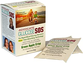Glucose SOS - Glucose Powder for Low Blood Sugar, Instant Dissolve, Fast Absorbing, All Natural Dextrose for Diabetics, Endurance Athletes and Muscle Building, Apple Crisp (6 Pack)