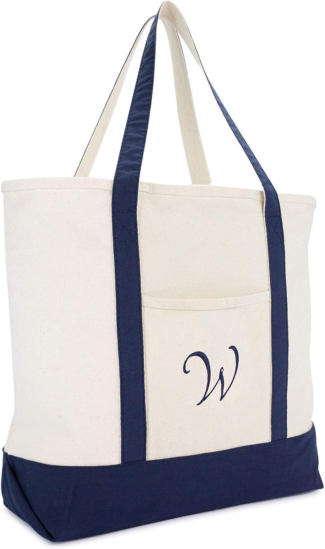 DALIX Personalized Tote Bag Monogram Navy bluee AZ