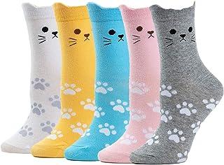 5 Pares Calcetines de Mujer, Colores Mezclados Animales de Dibujos Gato Patrón Calcetines De Algodón Niña Calcetines Divertidos