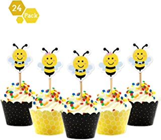 Faisichocalato Bumble Bee Cupcake Toppers and Wrappers for Gender Reveal Baby Shower Party Decorations Supplies 24packs