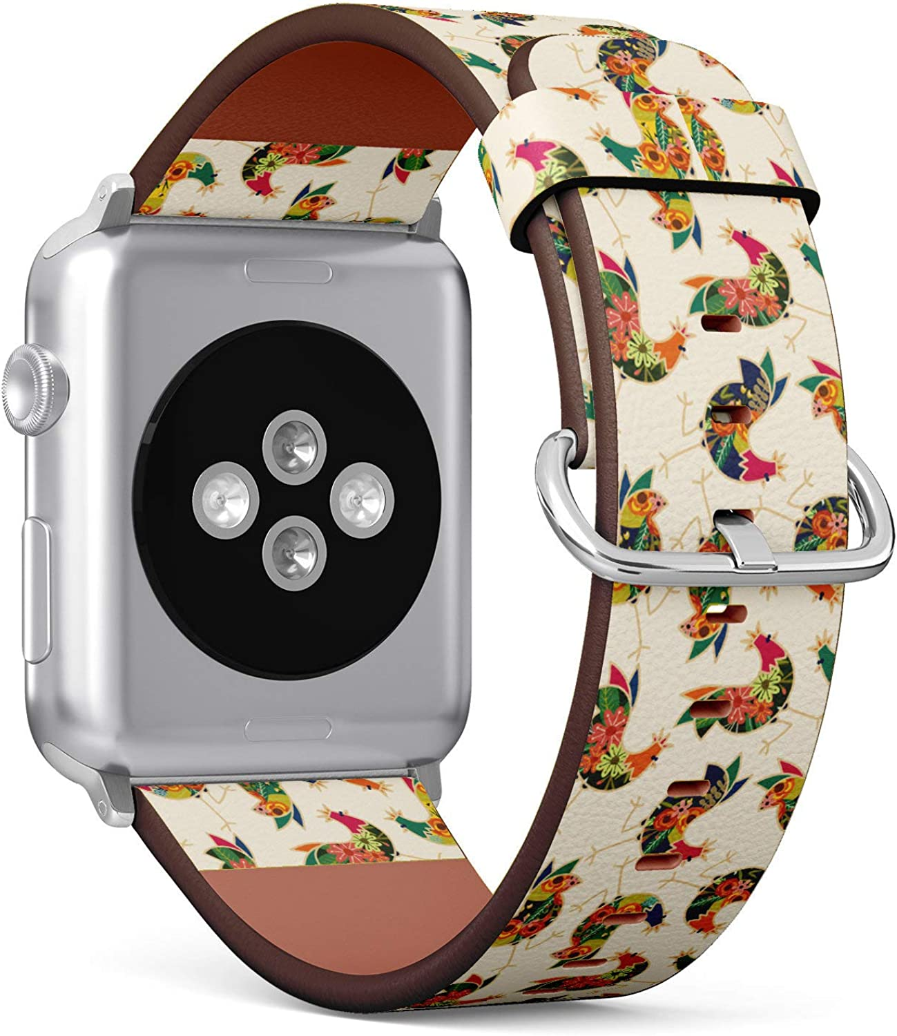 (Floral Chicken Rooster Seamless Pattern) Patterned Leather Wristband Strap Compatible with Apple Watch Series 4/3/2/1 gen,Replacement of iWatch 38mm / 40mm Bands
